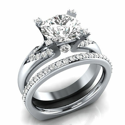 Certified 2.50ct Round cut Diamond Engagement Bridal Ring Set in 14K White Gold
