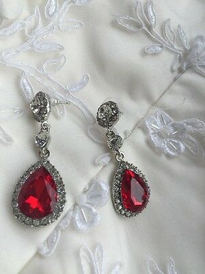 Red Clear Crystal Diamanté Drop Silver Indian Jewellery Earrings Accessories