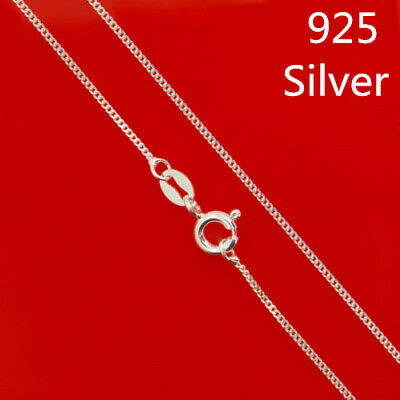 925 Sterling Silver 1.1mm Curb Solid Chain necklace Link 14 16 18 22 24 30 Inch