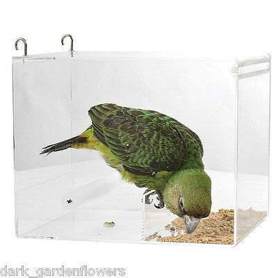 Parrot Food Mate Acrylic Less Mess Feeder Large