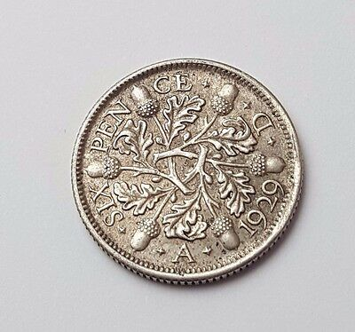 1929 - Silver - 6d / Sixpence - Great Britain - King George V - English UK Coin