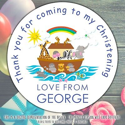 Personalised NOAH'S ARK christening Party sweet cone gift bag sticker label