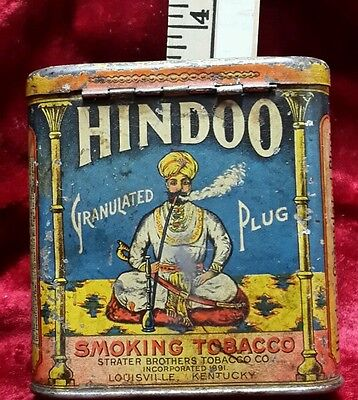 Hindoo Smoking Tobacco Antique Tin, Strater Brothers Tobacco Co, Louisville, Ky