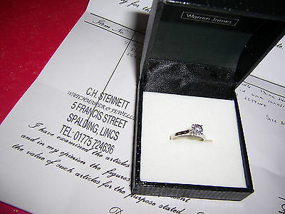 Warren James 9ct White Gold .25 Carat diamond engagement ring with Certificate