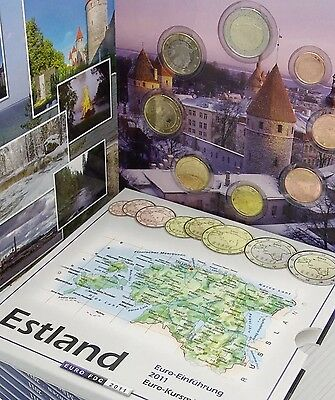 Estonia Euro Coins Set 2011 In Folder New 1st Year EU KMS Blister 1cent T 2€