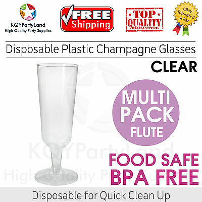 Clear Disposable Plastic Champagne Flutes Glasses Party Birthday Wedding BBQ NEW