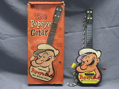 "1953 POPEYE ""GETAR"" in BOX by Mattel GUITAR MUSIC BOX"