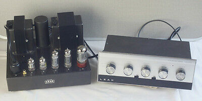 Leak TL-12 Plus Grey Valve Amplifier & Matching Varislope Mono Preamp in Silver