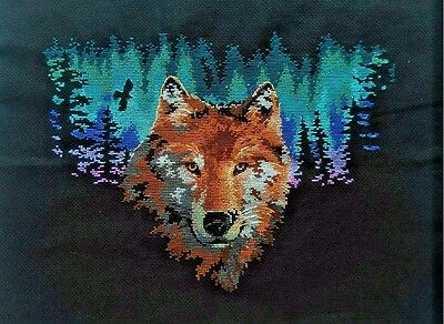 """NEW Finished completed handmade Cross stitch needlepoint""""WOLF""""Decor Gifts"""