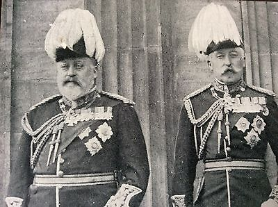Antique Pc View Of King Edward V11 & The Duke Of Connaught Royal Review 1905