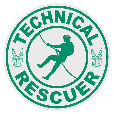 Technical Rescuer Firefighter Rescue Small Round Reflective Decal Sticker Green