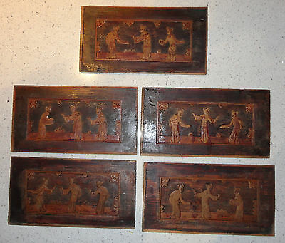 Set Of 5 Antique Chinese Carved Wood Panels