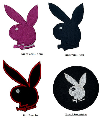 Playboy Bunny iron on patch badge logo , pink Bunny embroidered .black white red