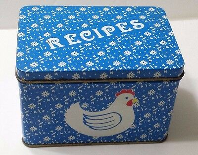 Vintage Tin Recipe Card Holder Blue and White with Roaster