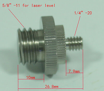 """1/4""""-20 to 5/8""""-11 Threaded Double Male metal adaptor unit fr laser level tripod"""