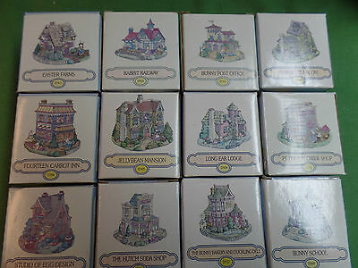 Easter Bunny Family Village Set of 12 Ceramic Houses Railroad Station and Stores