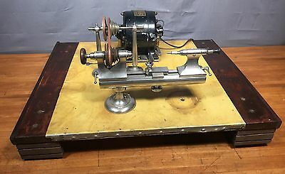Hopkins Watch Tool Co 8mm Watchmakers Lathe w/ Motor Transmission Pulley & Stand