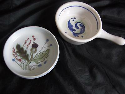 2 Scottish Buchan Pottery Dishes - Iona + Thistle