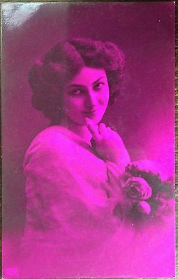 Antique Novelty Rppc Pretty Girl With Flowers Purple Finish To Card Eas London