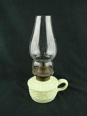 Shabby Chic - Late Victorian Hand Held Finger Oil Lamp Yellow Moulded Glass Font