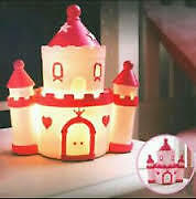 princess castle pink night light table lamp led girls bedroom kids children