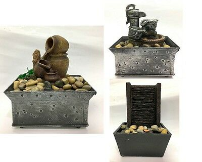 NEW Figural Tabletop Tranquility Serenity Resin Water Fountain Recognized