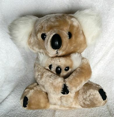 "Vintage 80's Plush Hugging 10"" Koala Bear Mom/Baby Stuffed Animal Huggers 1987"