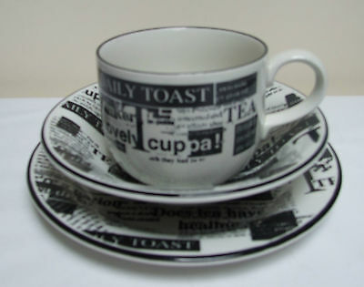 Large Tea Cup & Saucer Boots Nick Holland Staffs 'daily Toast'  Breakfast Set