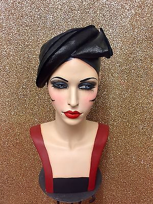Stunning Vintage French Forties Black Cocktail Hat