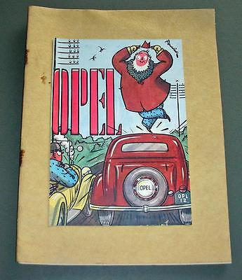 Old Motoring Book - What I thought Of My Opel - Fenwick Sketches - 1936-37.