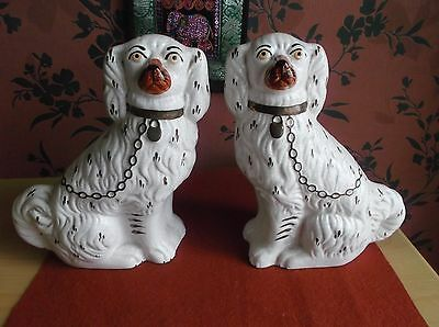 Pair Of Vintage Staffordshire Ware Spaniels Fire Dogs