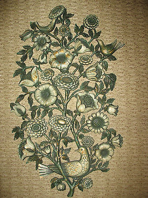 Syroco Birds Flowers Vintage Wall Hanging 1965 Green Gold Tree of Life Art