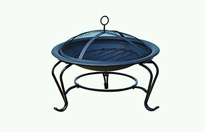 Outsunny Fire Pot 842-024 Black Round Outdoor Metal Wood Burning Mesh Lid