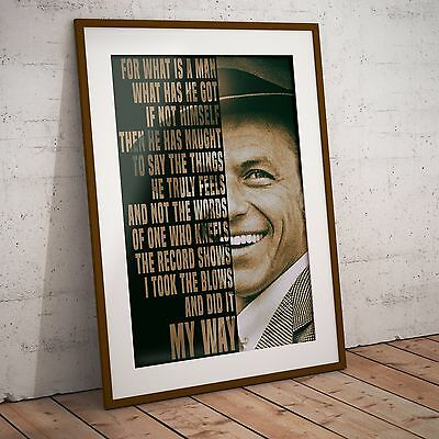Frank Sinatra 'My Way' Lyrics - Two Sizes Print Poster NEW 2017 Olivia Valentine