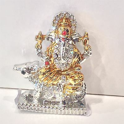 Hindu God Ganesh Metal Show Piece Small Statue For Car Dash Board Gift Item