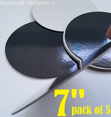 "BLACK 7"" INCH CAKE BOARD x 5 (17.5cm) Round THIN Cards Support Cupcake Culpitt"