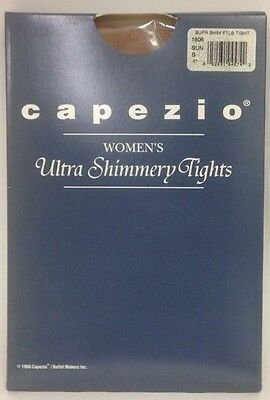 New CAPEZIO 1806 Womens Ultra Shimmery Footless Tights Suntan SMALL Dance Ballet