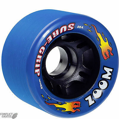 "SURE-GRIP ""Zoom"" Rollerskate wheels x8 BLUE fit Bauer Roller Derby Indoor 96a"