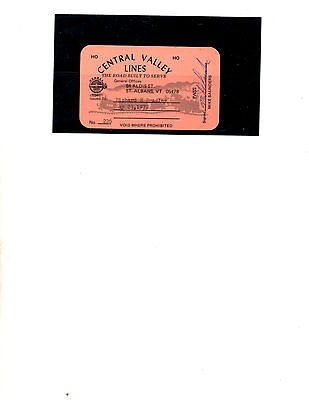 Central Valley Lines Railroad  Pass (Item 0058)