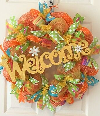 """26"""" Deluxe SUMMER FLIP FLOP Deco Mesh WELCOME Wreath EVERYDAY, LAKE or BEACH"""