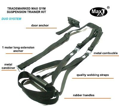 Duo-Duo Max Gym® Suspension Trainer Straps Kit-Body Weight Exercise MMA -black