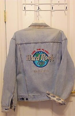 Hard Rock Cafe Baltimore Jacket Authentic Denim Jeans Coat Men's Size Medium