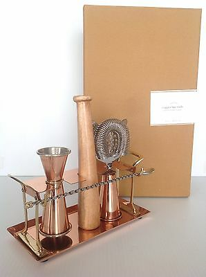 Pottery Barn Copper Bar Tool Set New In Original Box