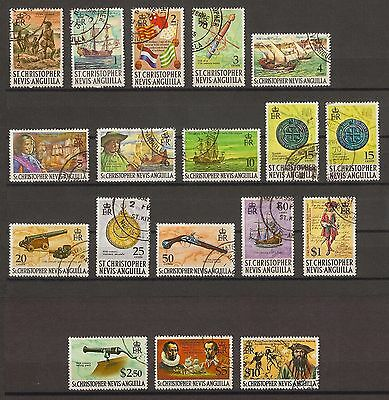 ST CHRISTOPHER NEVIS ANGUILLA 1970-74 206/21, 280  USED Cat £24.50