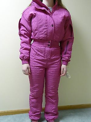 Women's Vintage Nils Hot Pink Magenta Ski Suit One Piece NEW!  Sz 4 8 Small