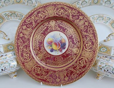 Royal Worcester Fruit Hand Painted Panel Large Dinner Plate Romany Interest
