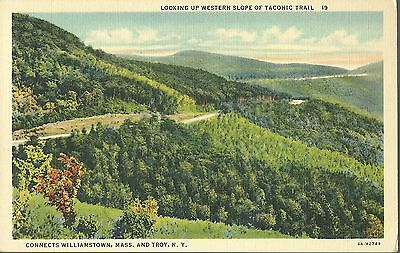 Vintage Old Postcard Unused Linen Taconic Trail Williamstown Mass Troy Ny