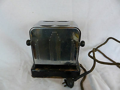 antique toaster art deco drop door old kitchen tool works great