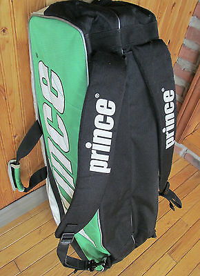 Large PRINCE tennis bag - BackPack - excellent condition - 8 pack - White green