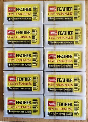 Feather Yellow Platinum Coated Double Edge Blades 100 Blades